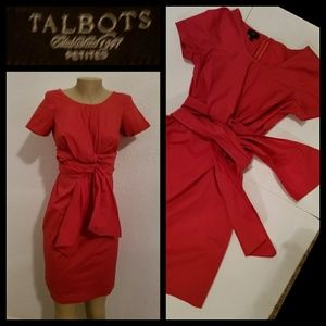 Talbots Red Dress Front Tie Up 4P
